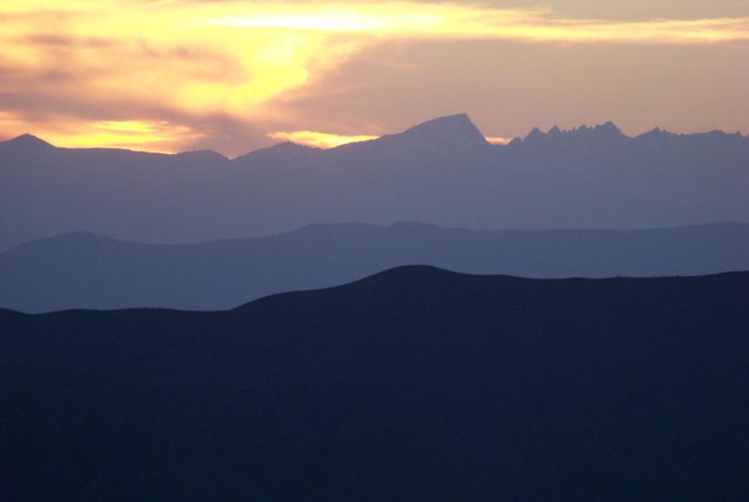 Desert sunset behind the Sierras
