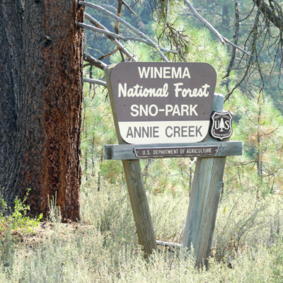 Annie Creek Sno Park sign