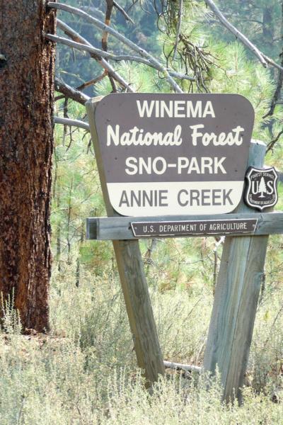 Annie Creek Sno Park sign