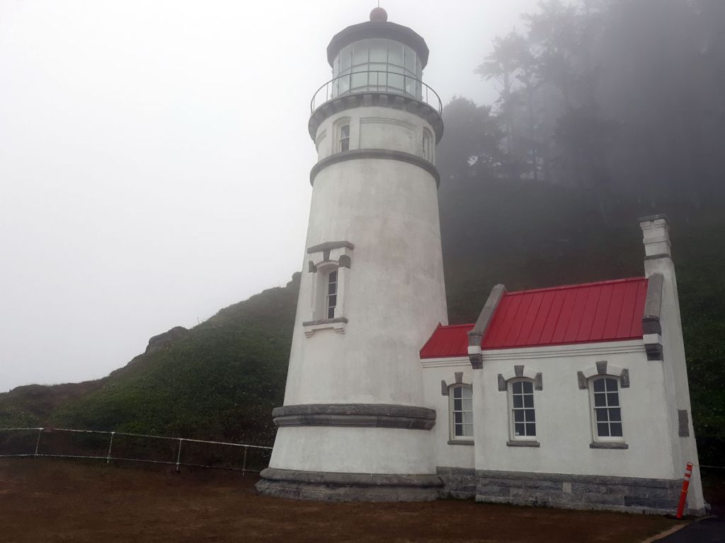 Haceta Head Lighthouse in the fog