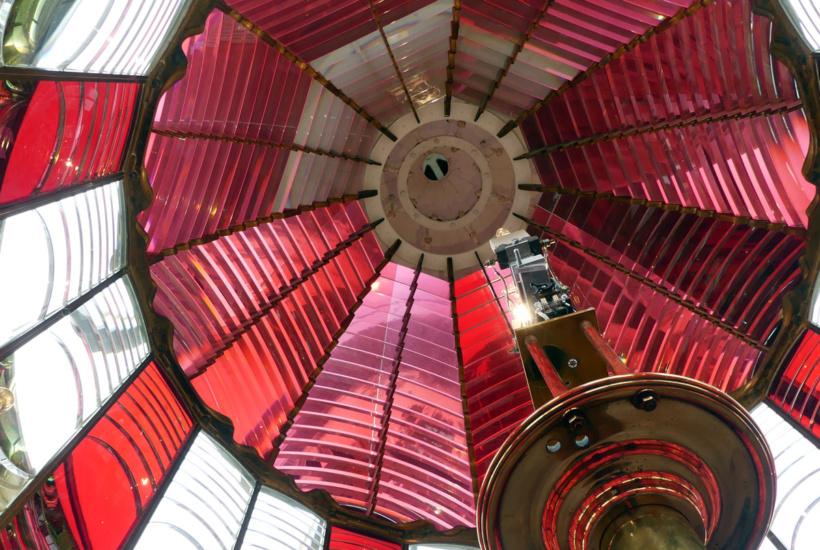 Red and white Fresnel lens