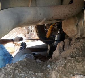 Jacking rear truck tire