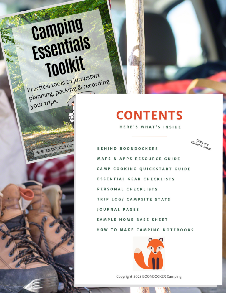 Table of contents for camping essentials