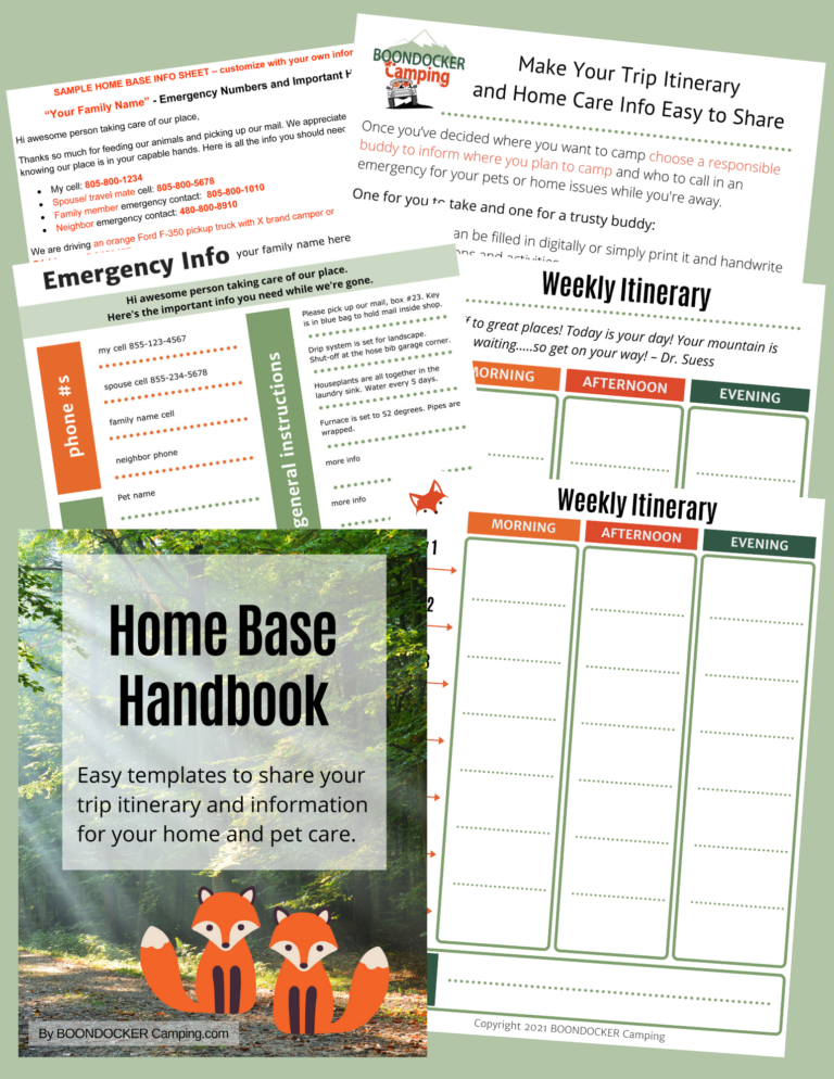 Templates for trip itinerary and house sitter